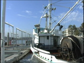 Stock Video Footage of Shrimp Boat docked