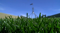 Green Grass Before Parliament House Canberra Australia Stock Footage