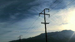 Electrical poles and clouds time lapse - HD  - stock footage