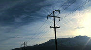 Electrical poles and clouds time lapse - HD  Stock Footage