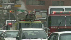 Fire trucks in the cold Stock Footage