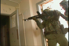 military, soldiers tactical assault of building, urban combat, #2  - stock footage