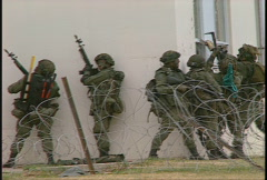 Military, soldiers tactical assault of building, urban combat, #15 Stock Footage