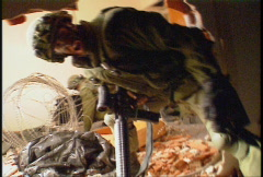 military, soldiers, firefight, building breech - stock footage