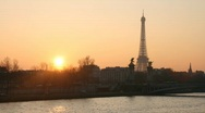 Paris, skyline at sunset Stock Footage