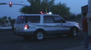 Stock Video Footage of Police SUV blocks lane and traffic