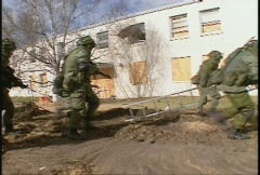 Military, soldiers tactical assault of building, urban combat, #8 Stock Footage