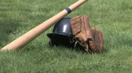 Stock Video Footage of Baseball Gear on grass5