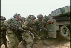 Military, leopard tank and troops Stock Footage