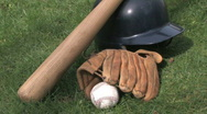 Stock Video Footage of Baseball gear on grass 7