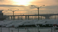 Stock Video Footage of Sunset snow bridge.