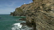 Stock Video Footage of Portreath cliffs.