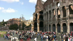 Coliseum tourism in Rome Stock Footage