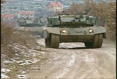 Kosovo, Leopard Main Battle Tanks on patrol Stock Footage