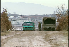 Kosovo, former Yugoslavia. small truck Stock Footage