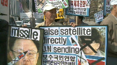 Korean demonstration anti North Korea Stock Footage