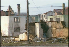 Stock Video Footage of Kosovo, former Yugoslavia. destroyed buildings, #7