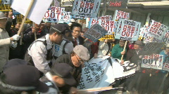Korean demonstration anti North Korea - stock footage