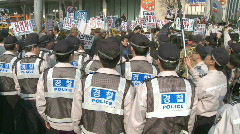 Korean Police anti north korean demonstration Stock Footage
