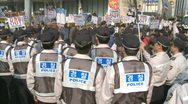 Stock Video Footage of Korean Police anti north korean demonstration