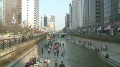 Cheonggyecheon River in Seoul, Korea Stock Footage