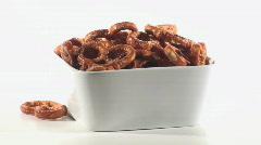 Pretzels in bowl - HD LOOP Stock Footage