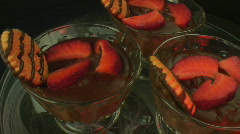 Choclate pudding dessert with cookie and strawberries 2 Stock Footage