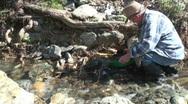 Prospector, miner, gold panning Stock Footage