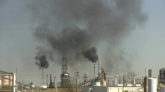 Black fumes billow from burning chimney fires at Houston Refinery - stock footage