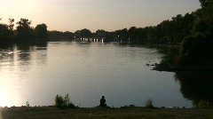 Shot of the calm Sacramento River at sunset Stock Footage