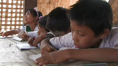 Burma: Students take notes from the blackboard Stock Footage