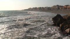 anzio seawall beach - stock footage