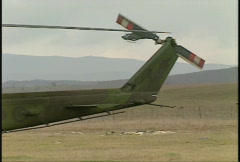 Kosovo, former Yugoslavia immediate post war, helicopter on final approach Stock Footage