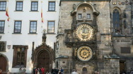 Astronomical clock with people Stock Footage