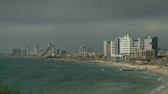 Tel aviv panorama seashore 2 Stock Footage