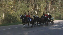 Cavalry with the carriage Stock Footage