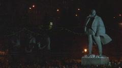 Monument Lenin night Stock Footage