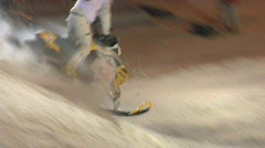 Snowmobiles fly Stock Footage