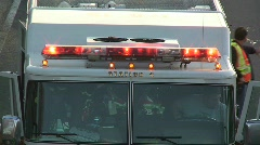 Overturned Car Accident Scene on Highway with Fire Trucks and Police Stock Footage