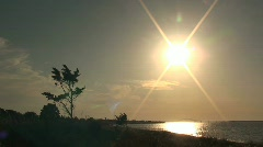 Ocean Landscape with Tree and Sunset – Time Lapse Stock Footage