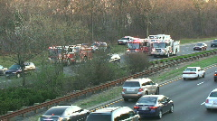 Accident Scene on Highway with Fire Trucks Stock Footage