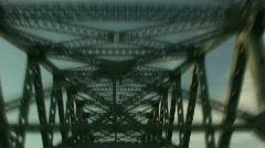Traveling on Bridge with Steel Beams Overhead Stock Footage