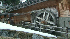 House with disused water wheel Stock Footage