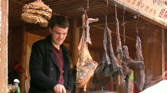 Cook in China. European man is preparing chinese food  Stock Footage