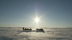 Arctic desolation, snowmobile on ice field Stock Footage