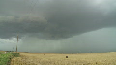 Storm chaser under a Supercell Thunderstorm Stock Footage