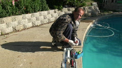 swimming pool maintenance - stock footage