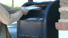 Post office box mail drop off medium shot - HD  Stock Footage