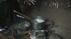 Malawi: cooking african food at night 2 Stock Footage