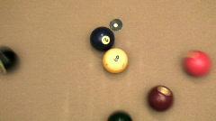 Pool 9 ball break high angle - HD  Stock Footage